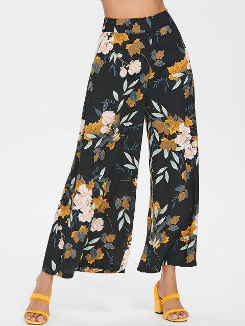 High Waisted Floral Ninth Palazzo Pants - BLACK L