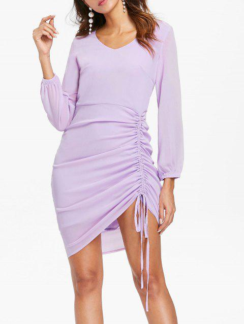 V-neck Ruched Drawstring Dress - MAUVE L