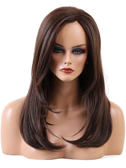 Long Side Bang Straight Capless Synthetic Wig - DEEP BROWN