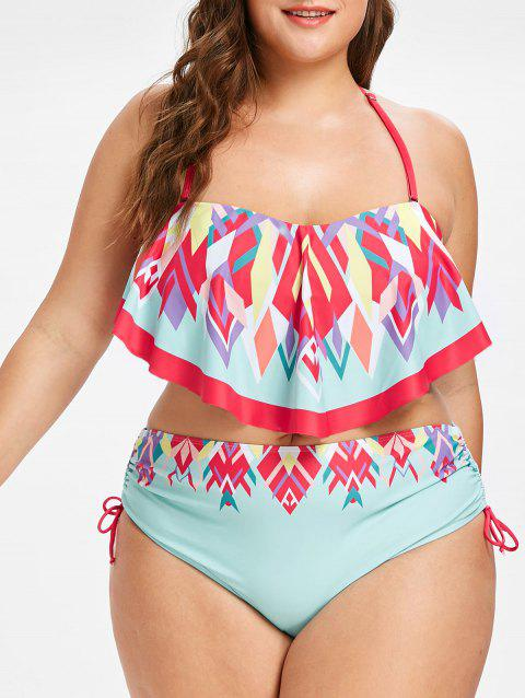 Plus Size High Waisted Print Bikini Swimwear - MINT GREEN L