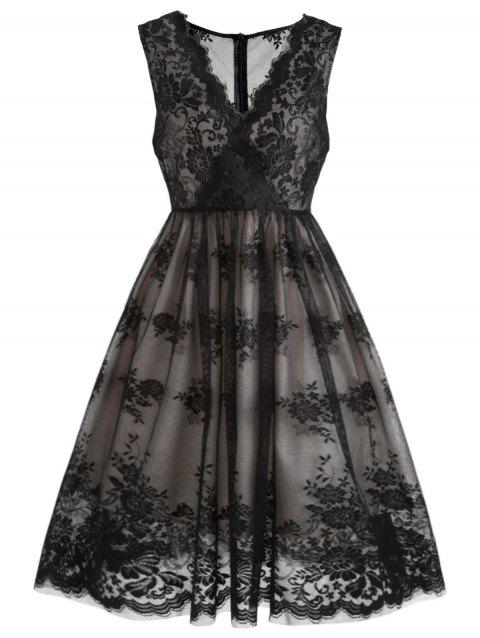 Sleeveless Lace Overlay Surplice Dress - BLACK L