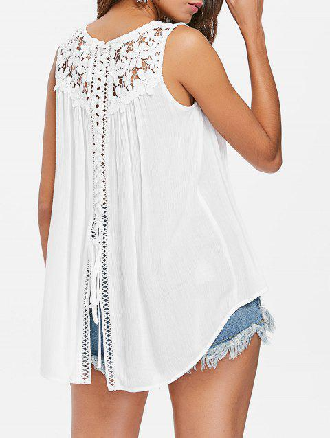 Floral Lace Panel Tank Top - WHITE L