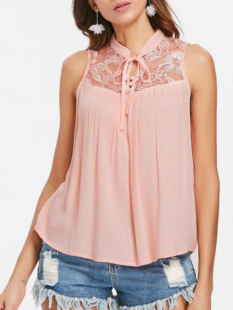 17 Off 2019 Embroidery Sleeveless Tie Neck Blouse In Flamingo Pink