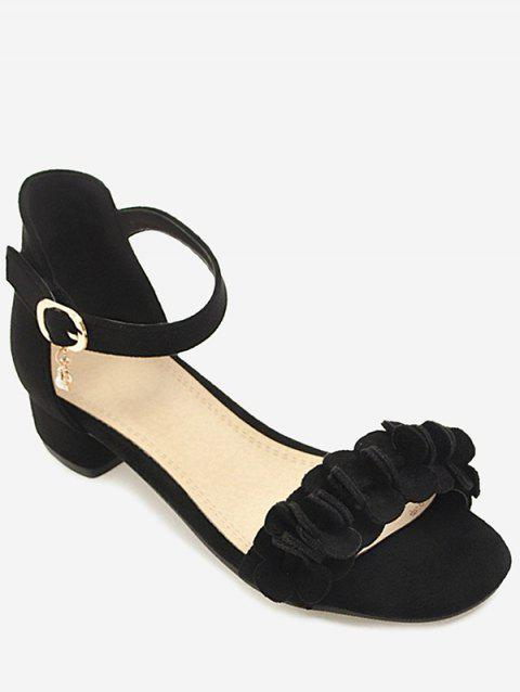 Plus Size Floral Chunky Heel Leisure Sandals - BLACK 43
