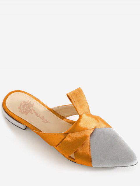 Plus Size Color Block Pointed Toe Knot Casual Mules Shoes - GRAY CLOUD 42