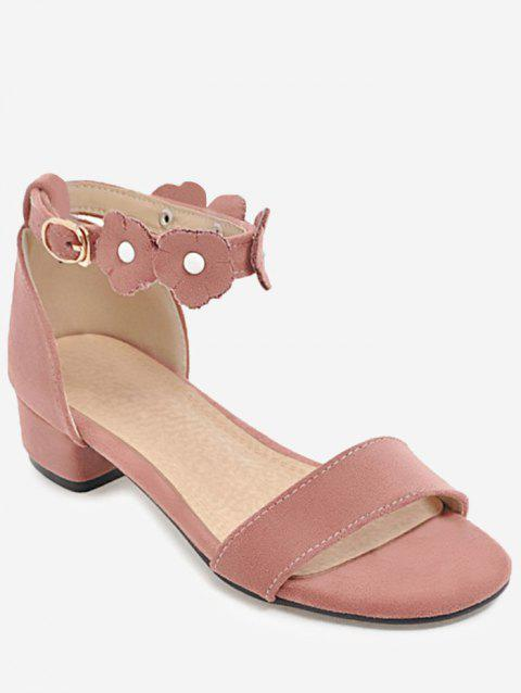 Plus Size Flower Ankle Strap Casual Sandals - PINK 42