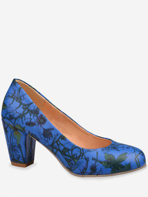 Plus Size Casual Flower Print Block Heel Pumps - BLUEBERRY BLUE 37