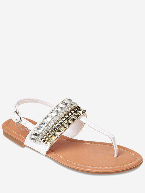 Faux Crystal Clip Toe Strap Beach Sandals - WHITE 39