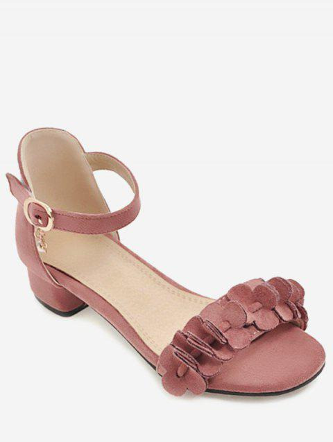 Plus Size Floral Chunky Heel Leisure Sandals - PINK 42
