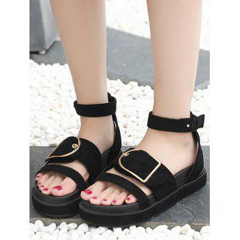 Metallic Outdoor Vacation Ankle Strap Sandals - BLACK 37
