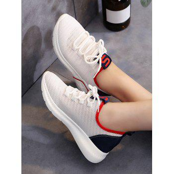 Lace Up Breathable Mesh Outdoor Sneakers - FIRE ENGINE RED 36