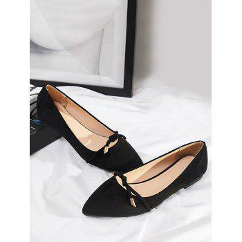 Slip On Tied Knot Flat Shoes - BLACK 39