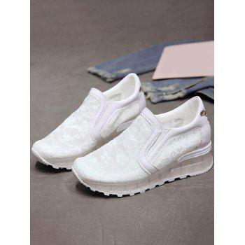 Lace Patchwork Slip On Casual Sneakers - WHITE 35