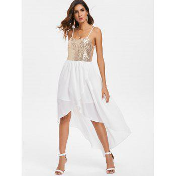 Sequins High Low Party Dress - MILK WHITE M