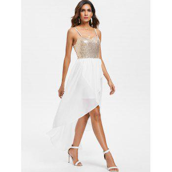 Sequins High Low Party Dress - MILK WHITE 2XL