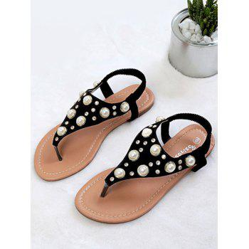 Clip Toe Faux Pearl Inlay Flat Sandals - BLACK 40