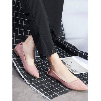 Bowknot Pointed Toe Ballet Flats - LIGHT PINK 37