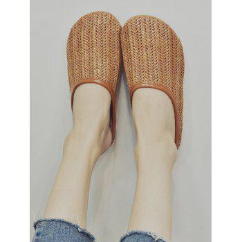 Hooded Straw Slip On Flat Shoes - DEEP BROWN 39