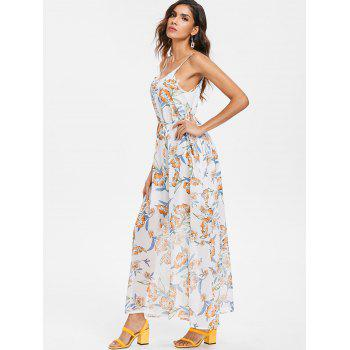Floral Print Chiffon Ankle Length Dress - multicolor XL