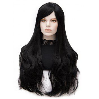 Long Inclined Bang Slightly Curly Heat Resistant Synthetic Wig - BLACK