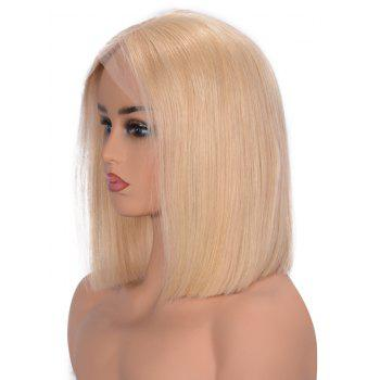 Center Parting Straight Bob Party Lace Front Human Hair Wig - GOLD 16INCH
