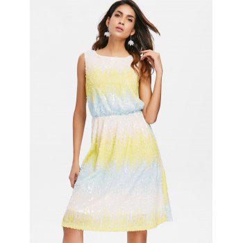 Ombre Sleeveless Glitter Blouson Dress - multicolor XL