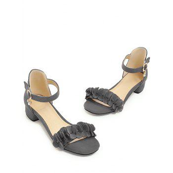 Plus Size Floral Chunky Heel Leisure Sandals - GRAY CLOUD 43