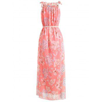Floral Print Sleeveless Belted Chiffon Maxi Dress - PINK 2XL