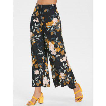 High Waisted Floral Ninth Palazzo Pants - BLACK M
