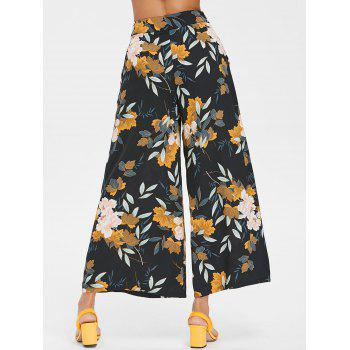 High Waisted Floral Ninth Palazzo Pants - BLACK XL