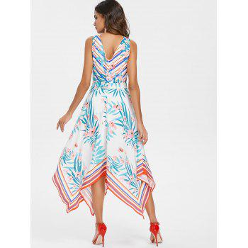 Plant Meet Stripe Asymmetrical Dress - WHITE XL