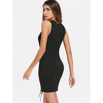 Criss Cross Deep V Collar Sleeveless Dress - BLACK L