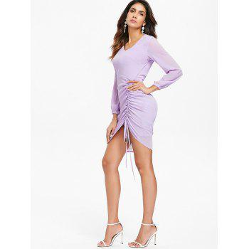V-neck Ruched Drawstring Dress - MAUVE 2XL