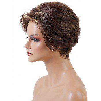 Short Side Bang Layered Natural Straight Colormix Synthetic Wig - multicolor