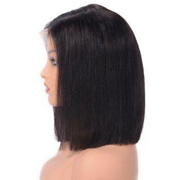 Middle Part Straight Bob Human Hair Lace Front Wig - NATURAL BLACK 14INCH