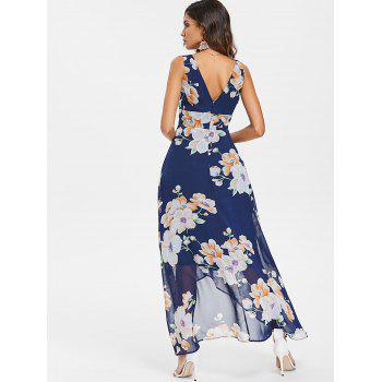 Empire Waist Long Flower Chiffon Dress - DEEP BLUE M