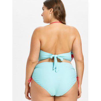 Plus Size High Waisted Print Bikini Swimwear - MINT GREEN 1X
