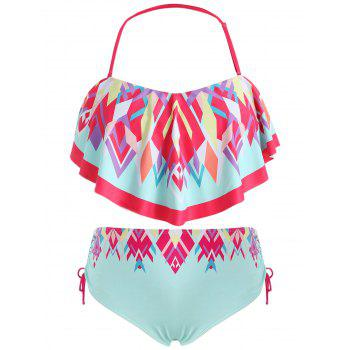 Plus Size High Waisted Print Bikini Swimwear - MINT GREEN 5X