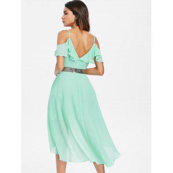 Cold Shoulder Chiffon High Low Flowy Dress - BLUE GREEN S