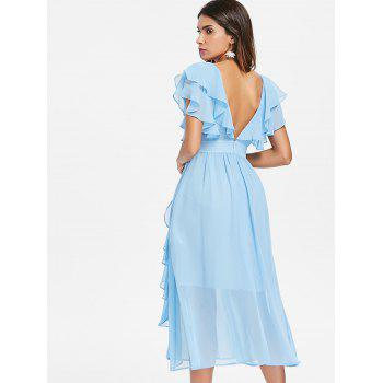 Deep V Backless Midi Ruffle Prom Dress - LIGHT SKY BLUE S