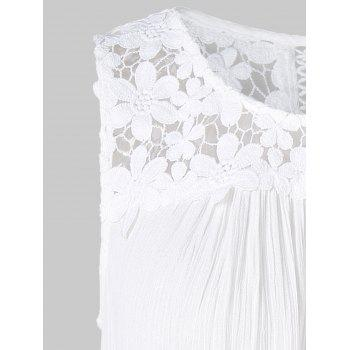 Floral Lace Panel Tank Top - WHITE M