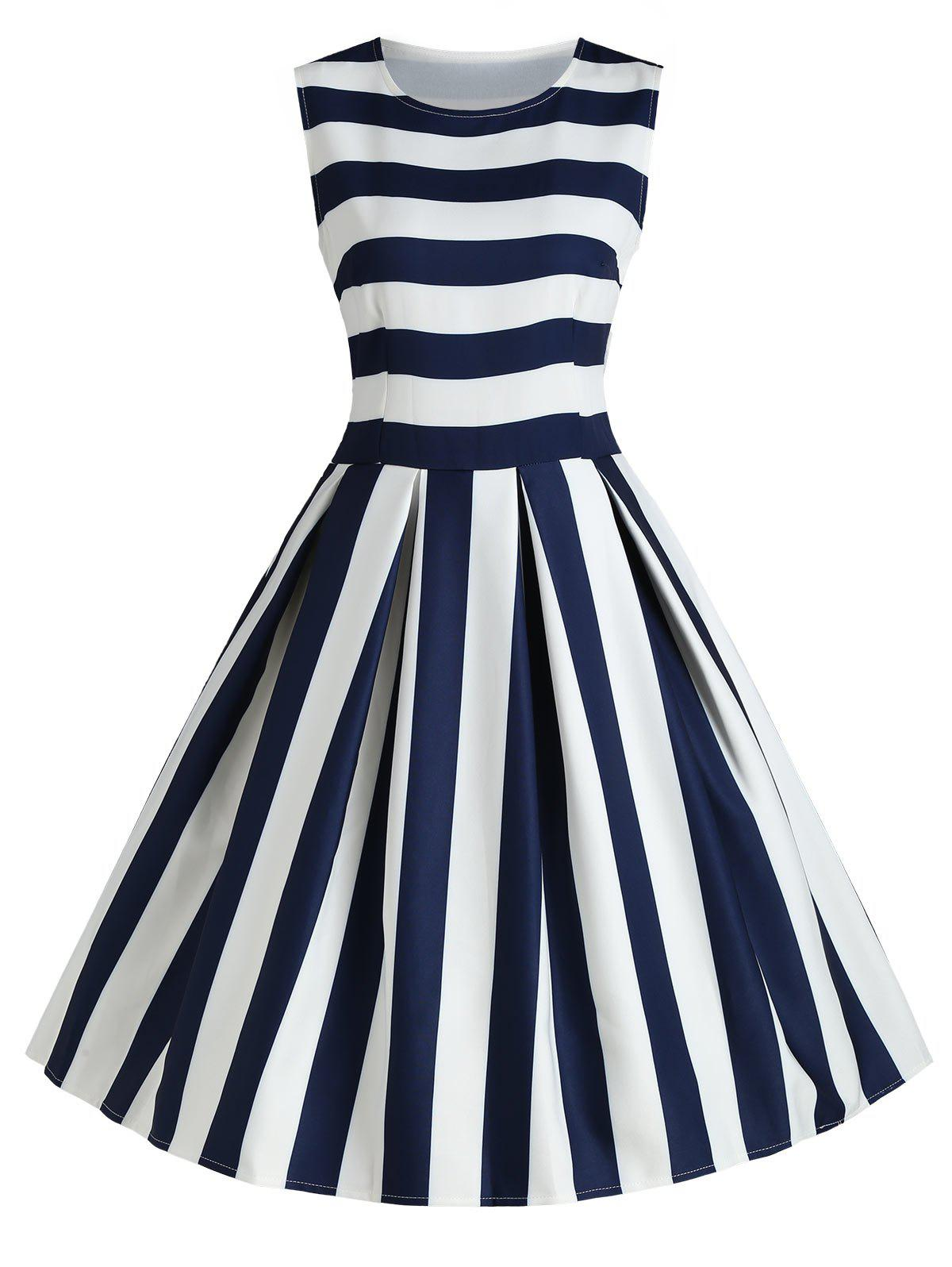 Striped Sleeveless Fit and Flare Midi Dress floral print sleeveless fit and flare midi dress