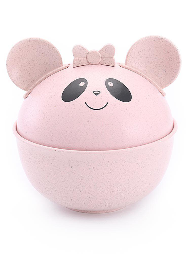 Cute Cartoon Panda Pattern Detachable Ears Bowl Set - PIG PINK