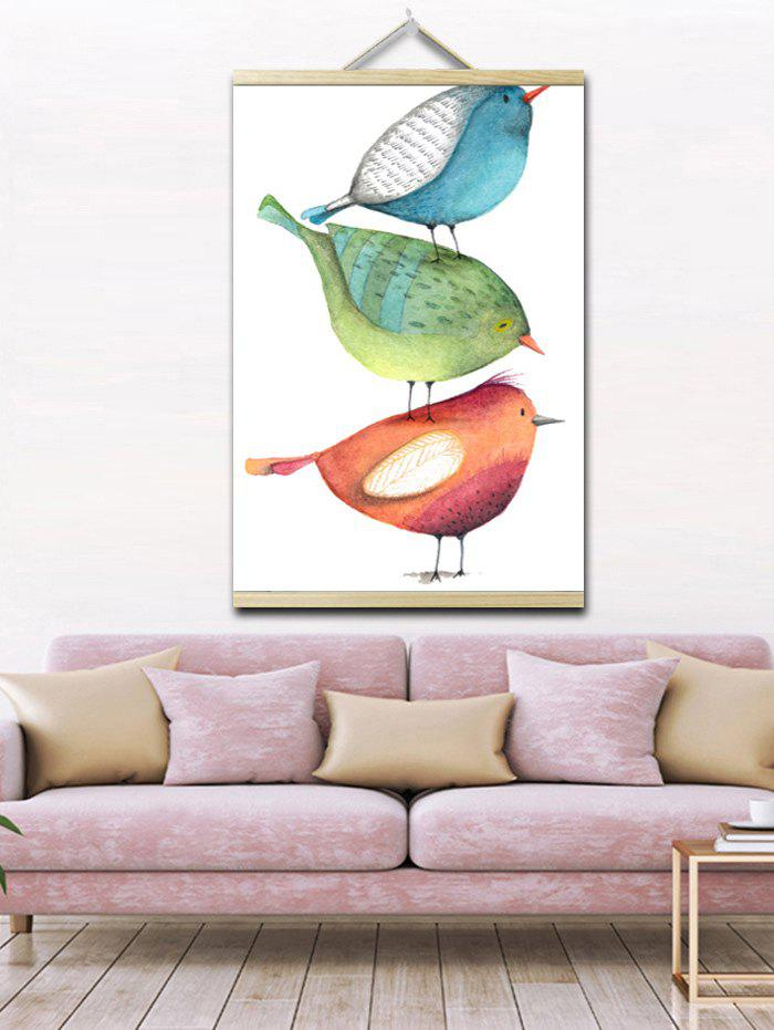 Cartoon Birds Print Wall Hanging Canvas Painting - multicolor 1PC:20*28 INCH(NO FRAME)