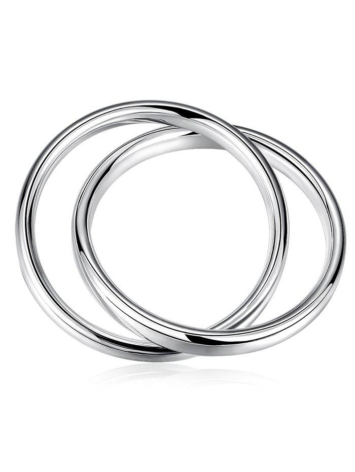 Double Round Cross Wedding Anniversary Bangle Bracelet - SILVER
