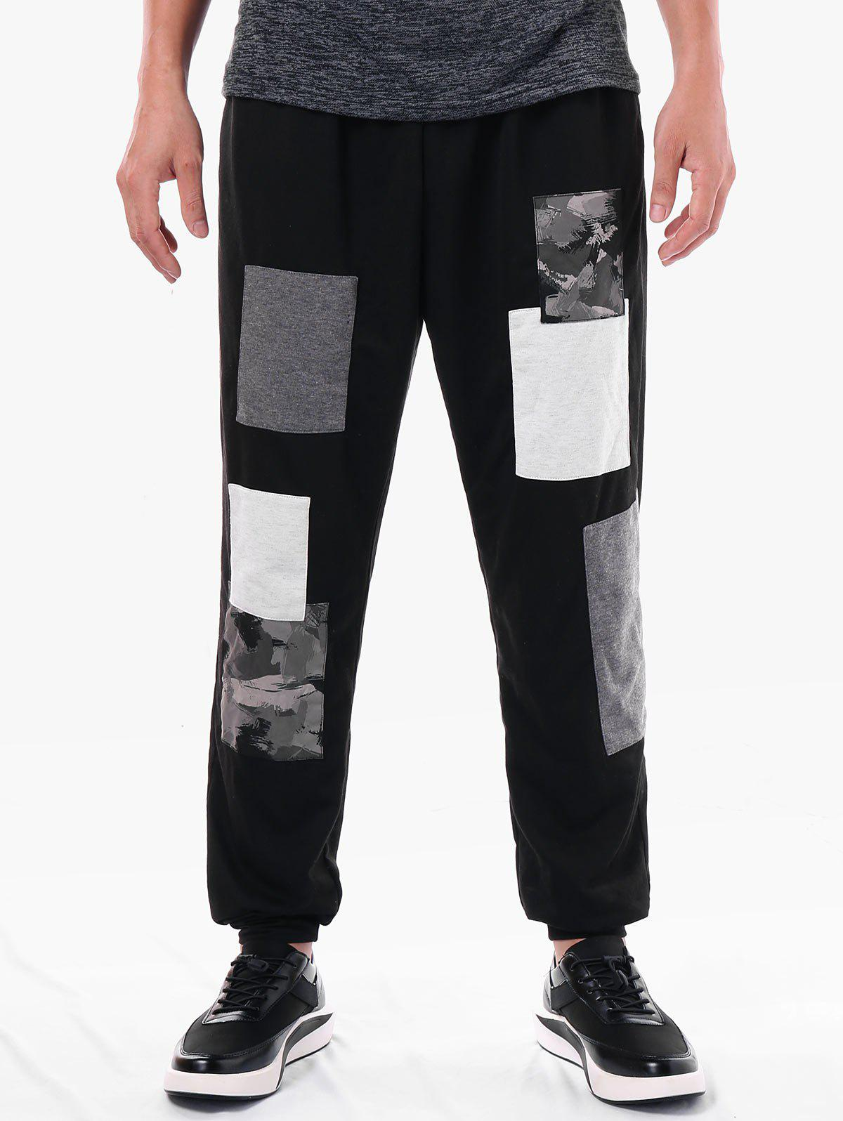 Narrow Feet Paint Print Panel Casual Pants - BLACK 2XL