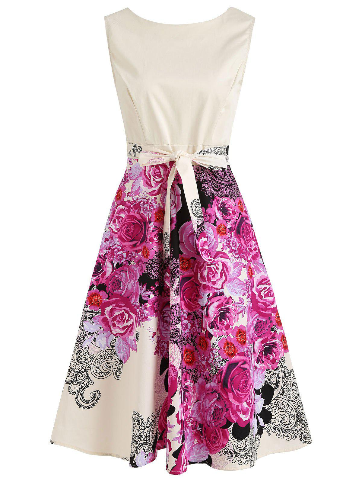 Floral Print Sleeveless Fit and Flare Midi Dress - NEON PINK L