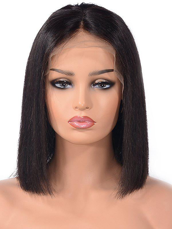 Middle Part Straight Bob Human Hair Lace Front Wig - NATURAL BLACK 8INCH