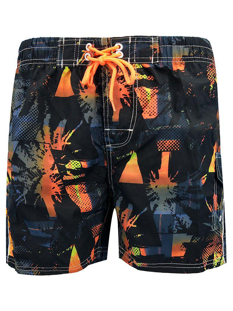 Two-pocket Lace Up Beach Shorts with Lining - ORANGE 2XL