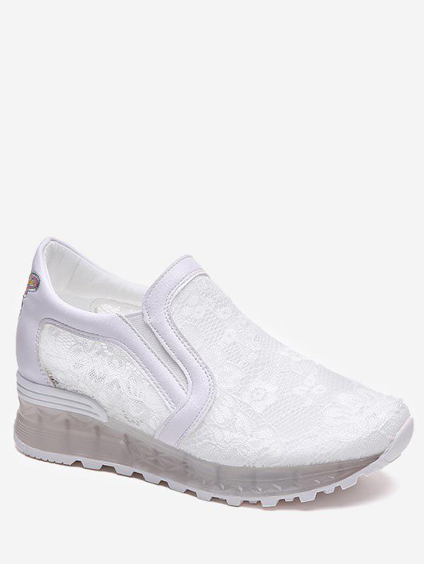 Lace Patchwork Slip On Casual Sneakers - WHITE 38